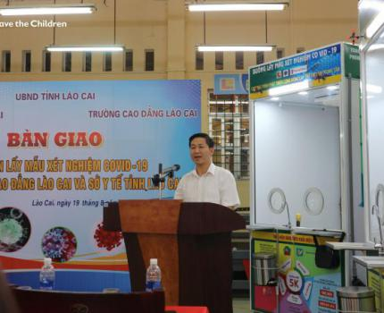 COVID-19 prevention and support from Save the Children to Lao Cai Department of Health